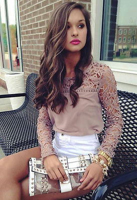 New Fashion Women Chiffon Lace Floral Blouse Tops 2018 Summer Long Sleeve Lace Crochet Hollow Out Shirt Khaki Tops Blouse