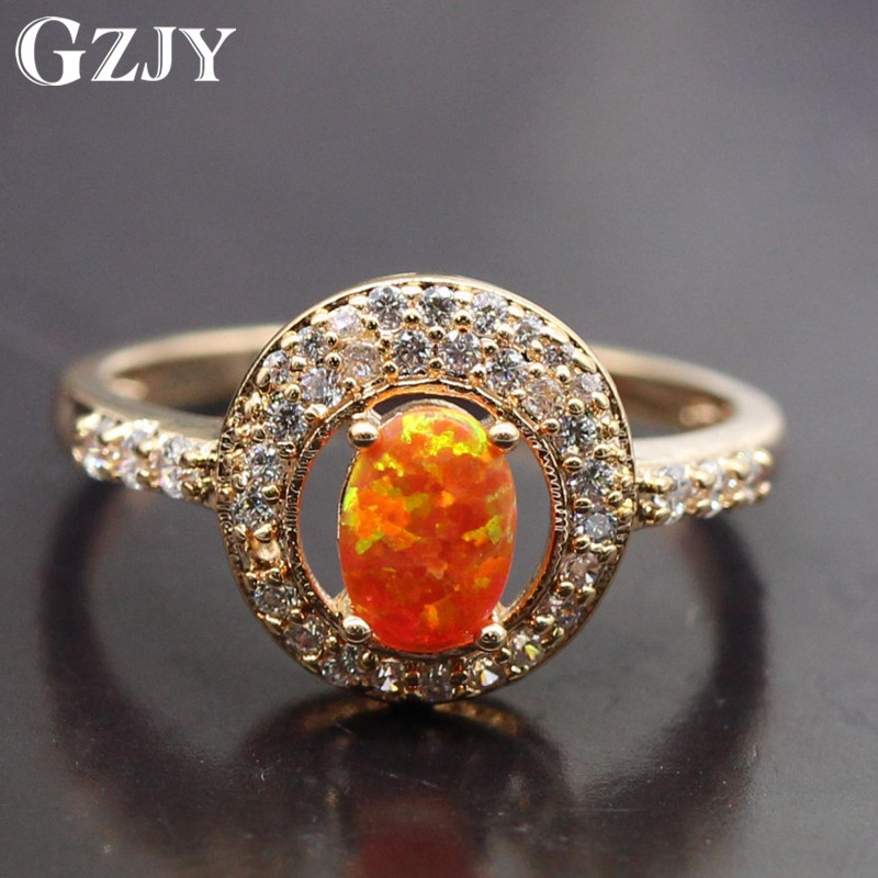 GZJY Women Jewelry Orange Fire Opal & Cubic Zirconia Gold Color Wedding Ring For Women Anniversary Party Jewelry size6/7/8/9